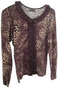 Dolce Cabo Ruffled Soft Fabric Animal Print Top Brown, Tan, Black spotted