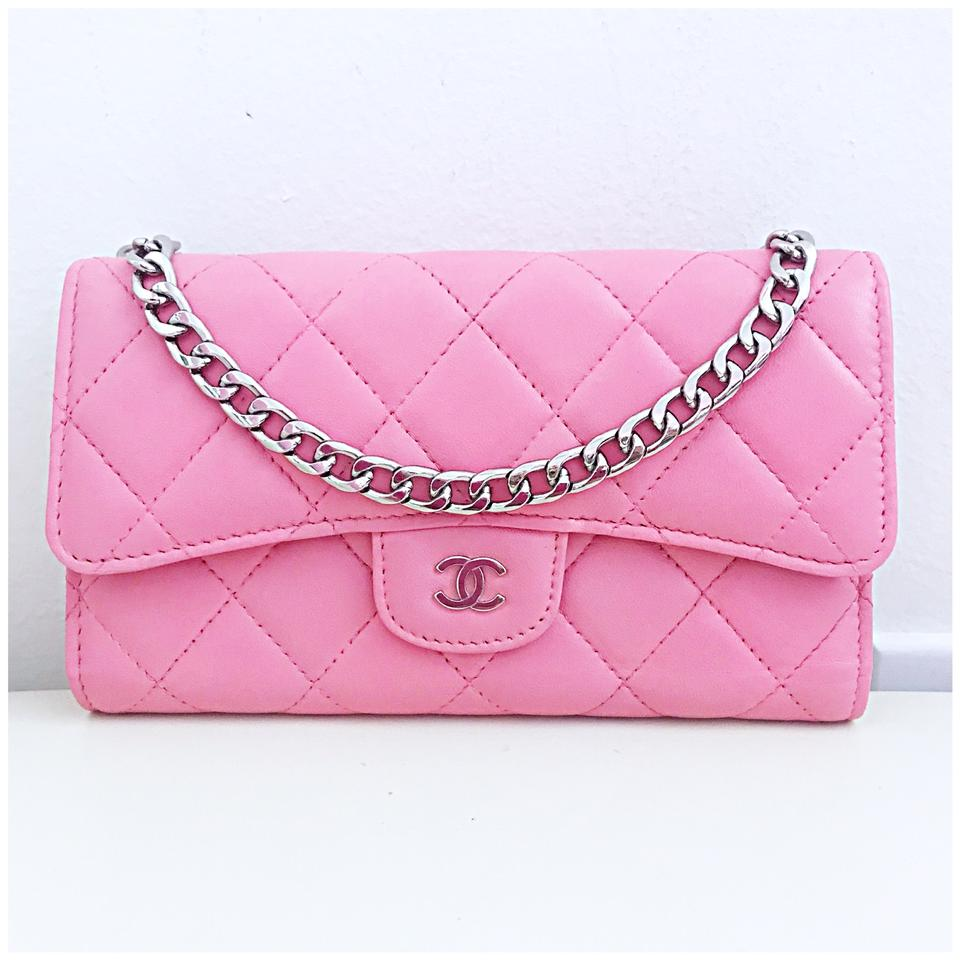 35819483a72a Chanel Classic Flap Wallet *with Chain Added* Pink Lambskin Leather Clutch