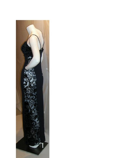 Item - Navy W Crape U-t String W/ Velvet Embroidered Bodice & Sheer Sides Long Night Out Dress Size 12 (L)
