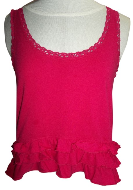 Hollister Ruffles Lace Cotton Blend Sleeveless Top Hot Pink