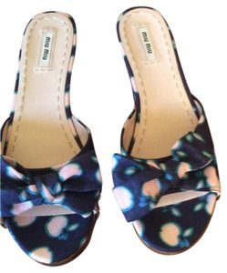 Miu Miu Navy with teal/red Mules