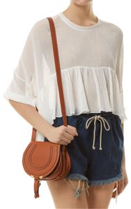 Chloé Marcie Calfskin Golden Hardware Adjustable Strap Horseshoe Cross Body Bag