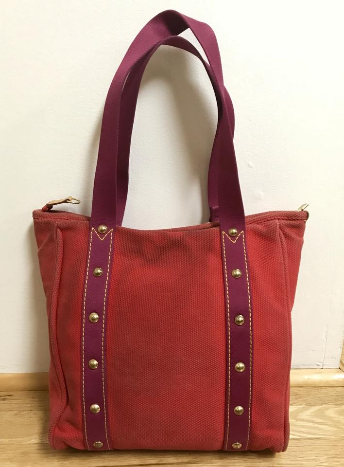 1eea60906533 Louis Vuitton Cabas Antigua Mm Rouge and Purple Toile Tote - Tradesy