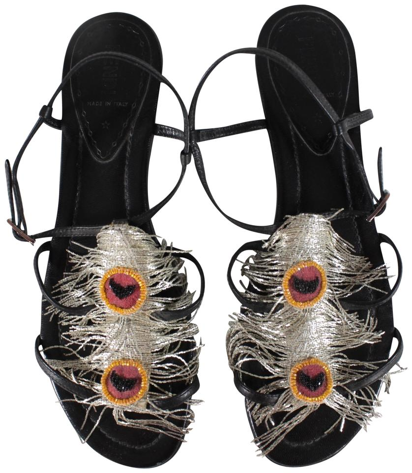Fendi Black Strappy Peacock Metallic Fringe / Beaded Peacock Strappy Accent Flat Sandals 4644b2