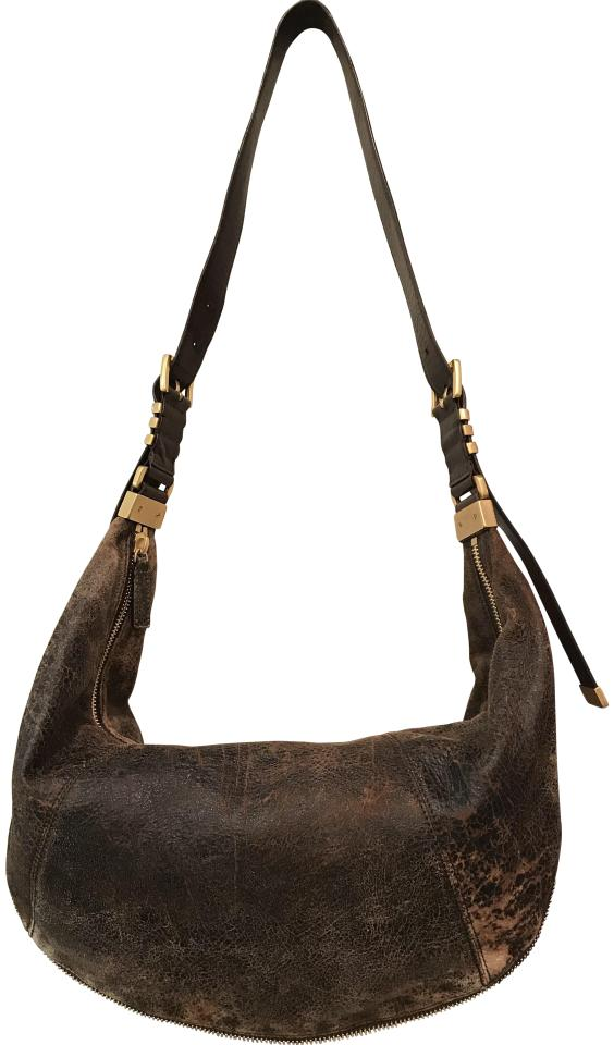 7c7bc477077a Michael Kors Darrington Distressed Large Crescent New Mocha Brown Leather  Hobo Bag