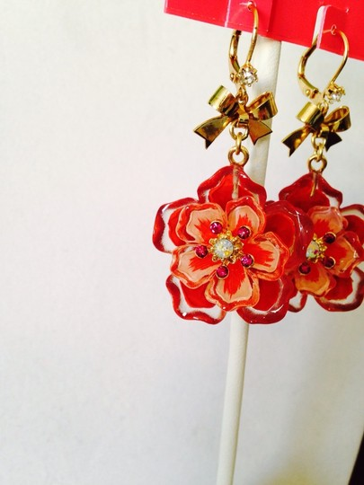 Betsey Johnson Betsey Johnson Red/Pink Lucite Double Flower Dangle Earrings Only! Matching Pieces Sold Seperately.