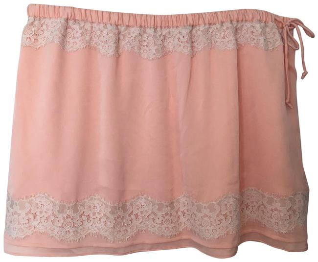 Item - Pink/Salmon with White Lace Trim Skirt Size 16 (XL, Plus 0x)