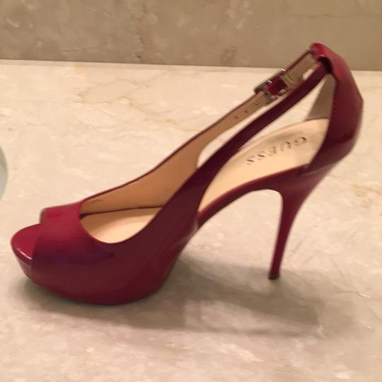 Guess High Heels Patent Leather Platform Open Toe Red Pumps Image 3