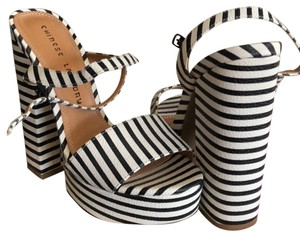 Chinese Laundry black & white striped Mules
