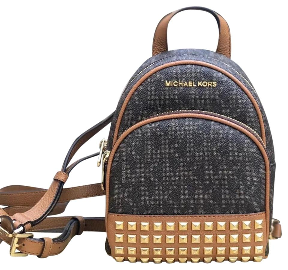 dbfaee0169af Michael Kors Signature Abbey Xs Brown Pvc Leather Backpack - Tradesy