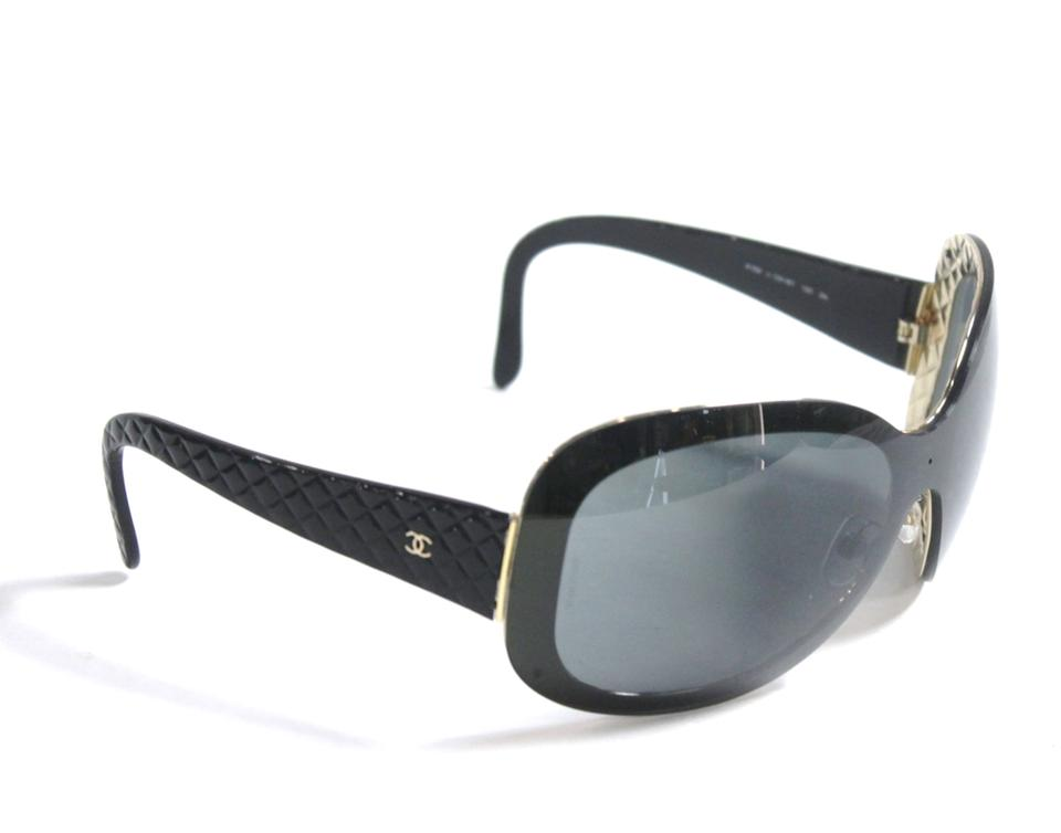 a850d633218 Chanel Chanel 4159 Oversized Black   Gold CC Sunglasses Quilted Arms Image  0 ...