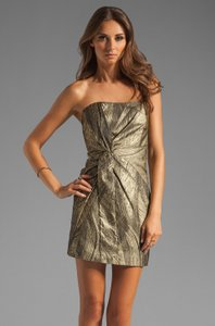 Haute Hippie Strapless Structured Metallic Silk-lined Evening Dress