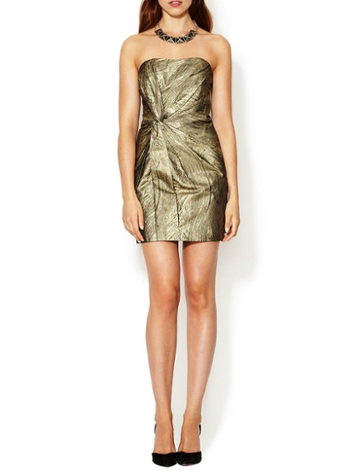 3dfac1661052 Haute Hippie Twist Front Metallic Silk-lined Gold Small Above Knee Cocktail  Dress Size 4 (S) - Tradesy
