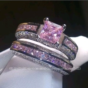 Fashion Jewelry For Everyone White & Pink Princess Cut Sapphire Stone 925 Silver Filled Size 10 Ring