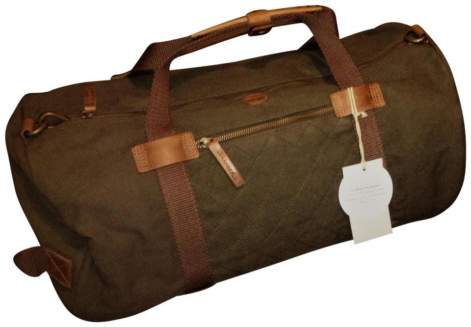 5b4ea66c833 Timberland / Weekenders Duffle / Laptop Waxed Olive Green Canvas & Leather  Travel Bag Image 0 ...