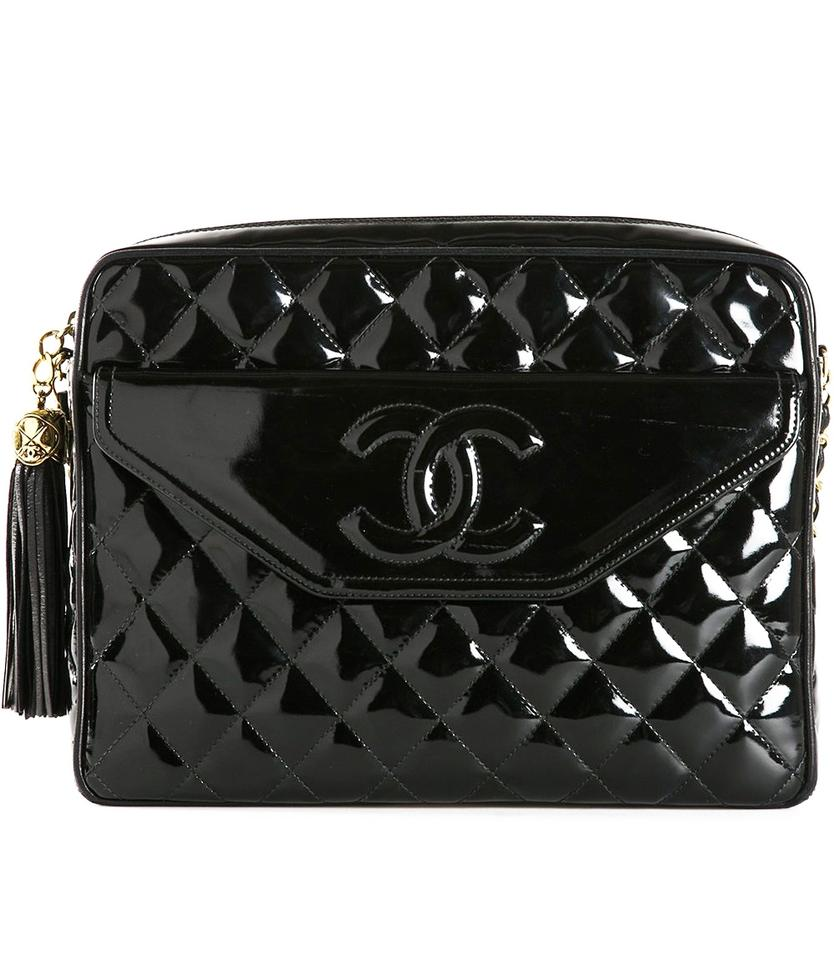 6dd5fb4730a3 Chanel Camera Vintage Patent Quilted Tassel Black Lambskin Leather ...
