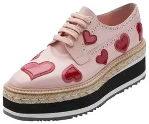 Prada Brogues Hearts Love Pink/Red Platforms