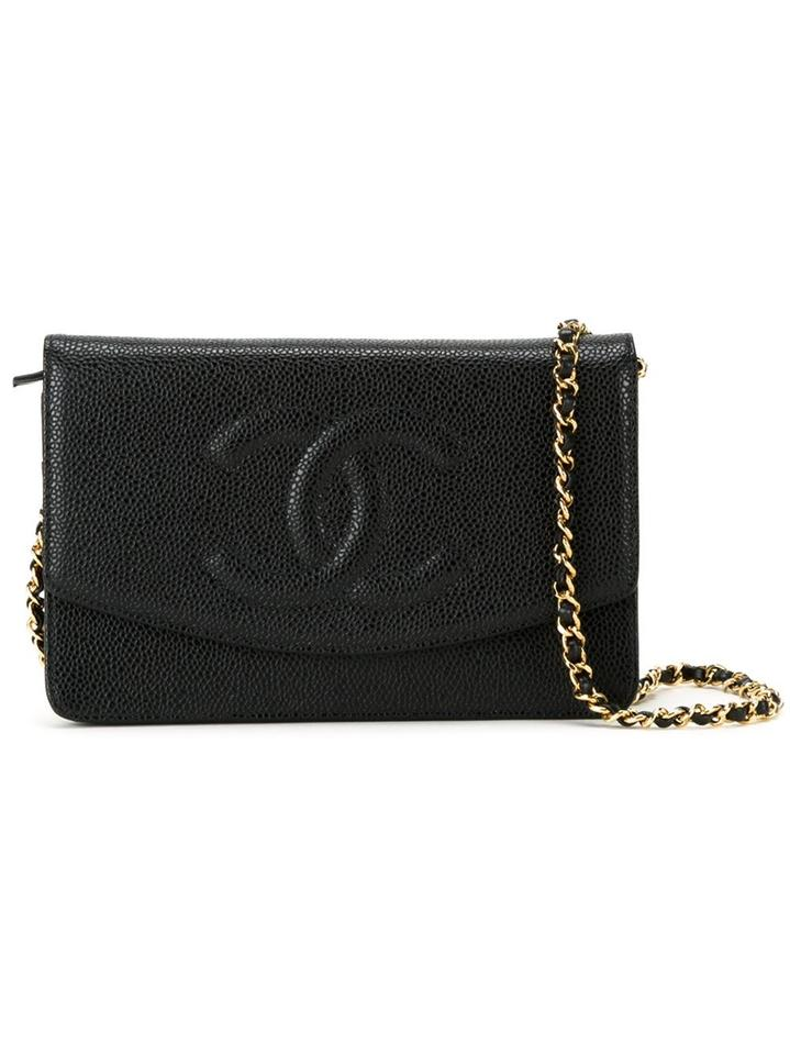 732b48610e06 Chanel Wallet on Chain Vintage Timeless Cc Woc Black Caviar Leather ...