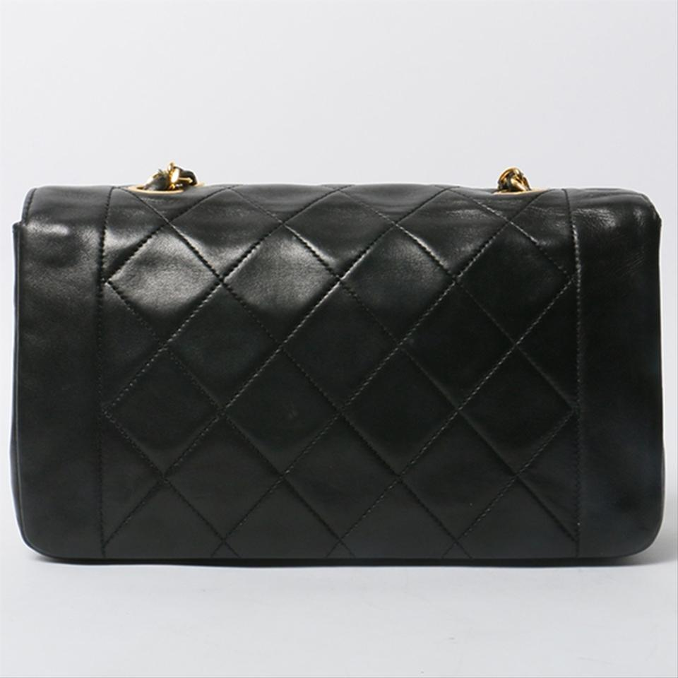 e2f324e633488f Chanel Vintage Quilted Black Lambskin Leather Cross Body Bag - Tradesy