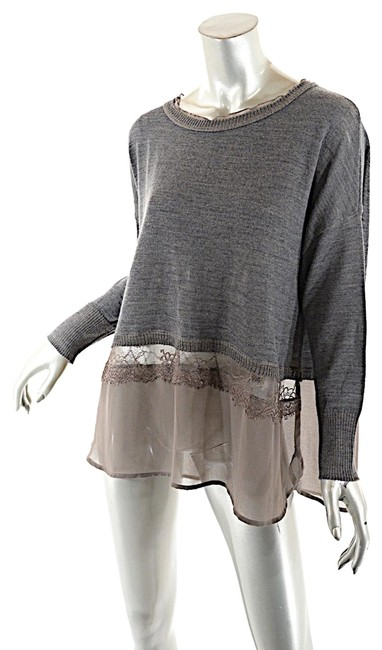 Item - Wool Blend Taupe Polyester Lace Hemline Grey Sweater