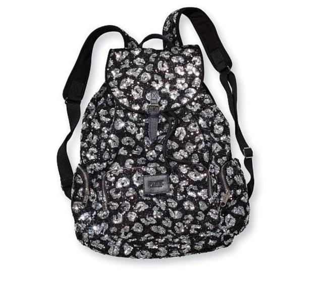 Item - Victoria's Secret Bling Leopard Cheetah Black/Silver Canvas Backpack