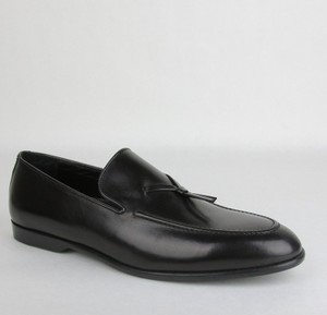 Gucci Black Men's Leather Loafer with Tie Detail 10d 110-1566 Shoes