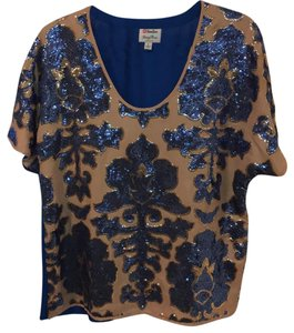 Tracy Reese Top royal blue and taupe