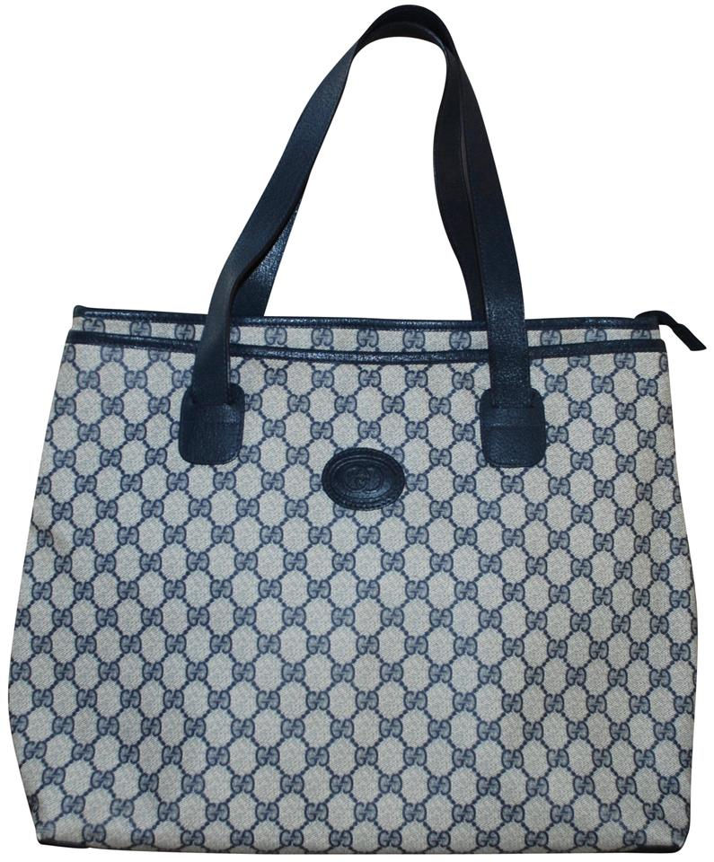 c08a094fff5 Gucci Vintage Supreme Navy Monogram Leather Zip Shopper Large Blue Canvas  Tote