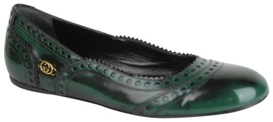 64d11ccad Gucci Green Leather Black Shaded Barclay Brogue 37.5/Us 7.5 226011 3062  Flats