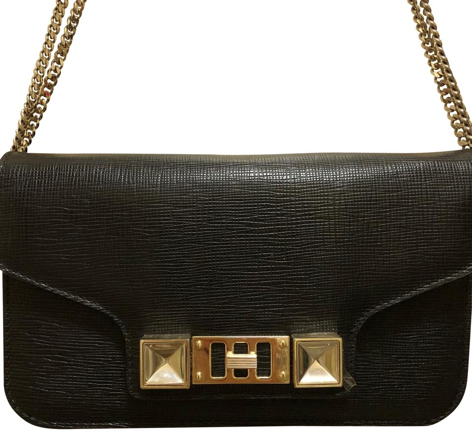 6c57139af109 Proenza Schouler Ps11 Wallet with Silver Chain Black Leather Cross Body Bag