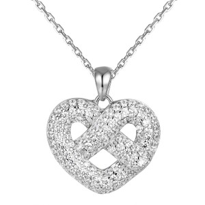 Master Of Bling Sterling Silver Infinity Love Heart small Women's Pendant Gift Set