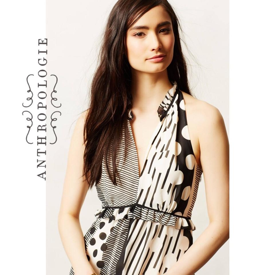 c29ad23aa5e76 Anthropologie Black Cream Maeve & Stripes/Dot Long Casual Maxi Dress Size 2  (XS) - Tradesy