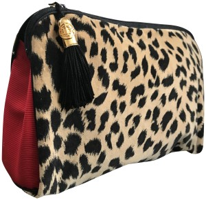 Dior Rare Vintage Dior Red Cheetah Large Cosmetic Bag / Travel / Clutch
