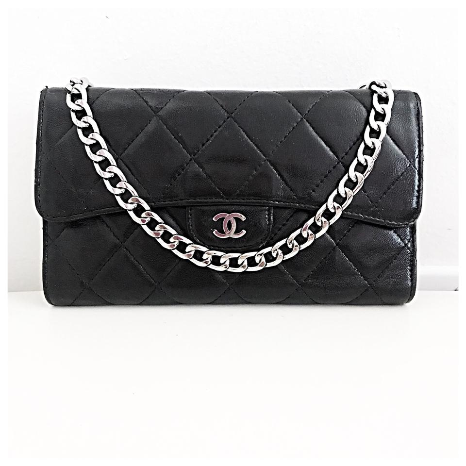 d4e297ef541d Chanel Classic Flap Wallet *with Chain Added* Black Lambskin Leather Clutch