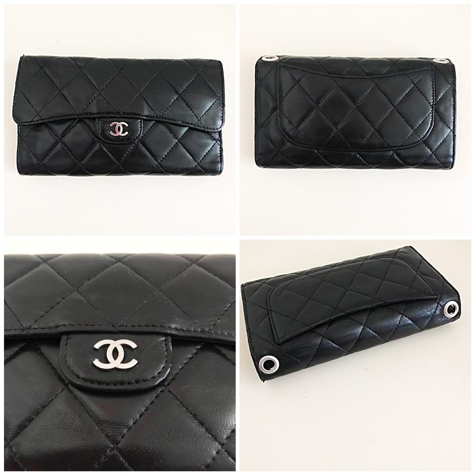 fa097baa9e82 Chanel Classic Flap Wallet *with Chain Added* Black Lambskin Leather ...