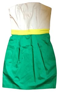 French Connection short dress White/green/grapefruit Green Yellow Color-blocking Mini Strapless on Tradesy