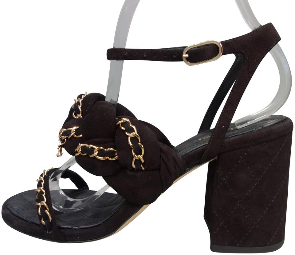 cd14402d7 Chanel Black Suede Gold Woven Chain Braided Straps Chunky Heels ...