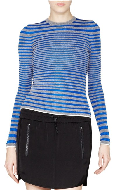 Preload https://item5.tradesy.com/images/alexander-wang-blue-gray-white-engineered-striped-knit-sweater-knit-tee-shirt-size-4-s-2284764-0-0.jpg?width=400&height=650
