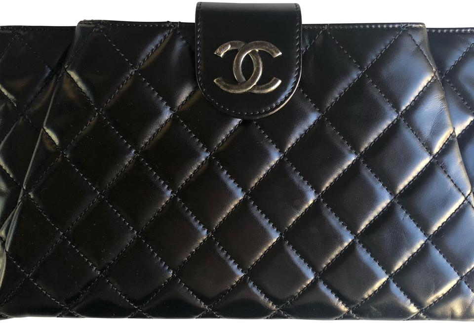 f806fcff47a2 Chanel Coco Pleats Clutch Envelope In and Silver Hardware Black ...