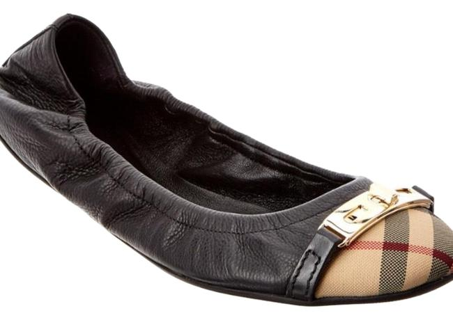 Item - Black and Tan Horseferry Check Leather Ballerinas Flats Size US 9.5 Wide (C, D)