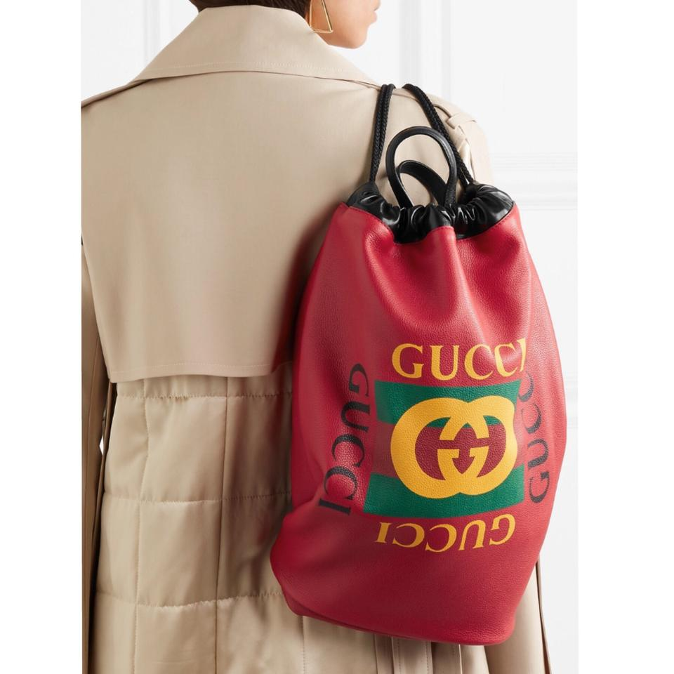 ab1c9a1a1494 Gucci Drawstring Printed Leather Backpack - Tradesy