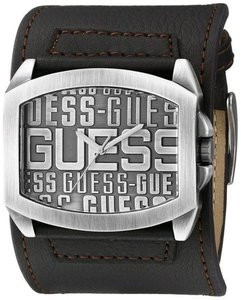 Guess Guess Men's Iconic Brown Leather Cuff Silver Tone Stainless Steel Watch U0360G2