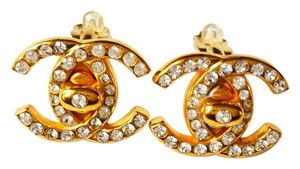 Chanel Authentic Chanel Rare Rhinestone Gold Turnlock CC Earrings