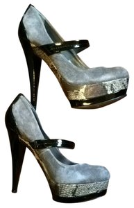 Jessica Simpson Cheetah Black Mary Jane Platform Stiletto Suede Leather Patent Leather Cloud Grey Pumps