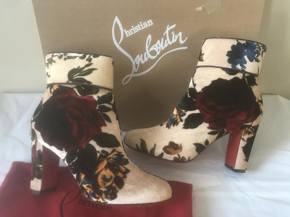 637ceab09711 Christian Louboutin Nude Ivory Multi Moulamax Velvet Floral Bouquet Ankle  Boots Booties Size EU 36.5 (Approx. US 6.5) Regular (M