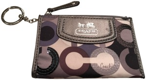 Coach Coach Madison Op Art Graphic Sequin Coin Pouch Key Ring Keychain