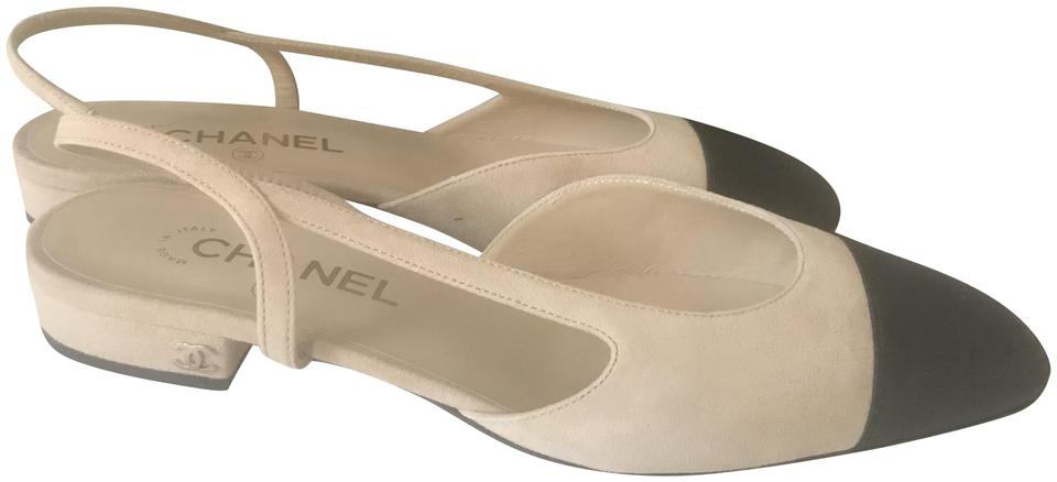 11e8d6dc37 Chanel Cc Two Tone Mademoiselle Slingback Suede Beige/Black Sandals Image 0  ...