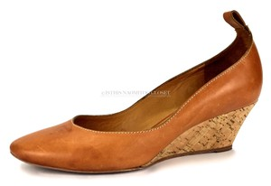 Chloé Classic Business Classy Made In Italy Leather Orange/ Brown Wedges