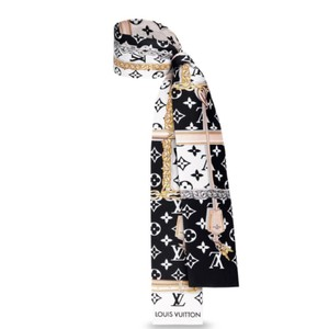 Louis Vuitton NEW Monogram Confidential Bandeau Black White Silk