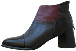 Everybody by BZ Moda Leather Color-blocking Chunky Heel Comfortable Stylist black, grey and wine/burgundy Boots